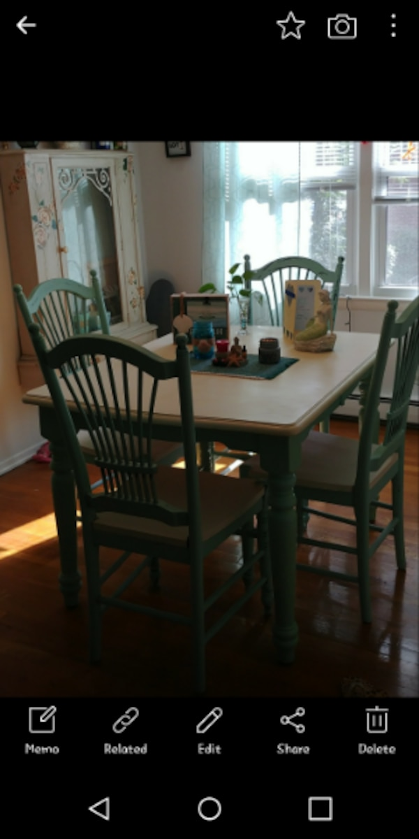 Used Dining Room Rectangular White Wooden Table Shabby Chic With Four Chairs Set Spring Lake Heights NJ For Sale In HARRISON