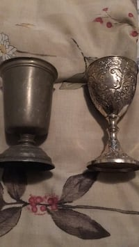 2 goblets .. one silver plated and other pewter for $4 each