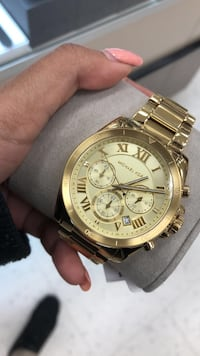 Round gold-colored chronograph watch with link bracelet Brantford, N3R 6B8