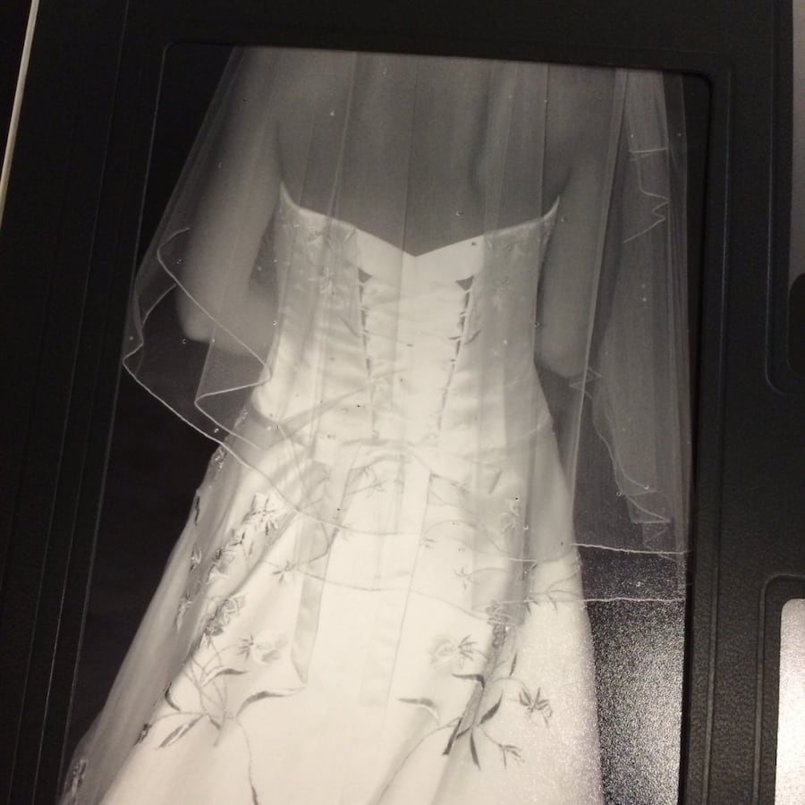 Halter top crystal beaded wedding gown and veil (preserved) size 4