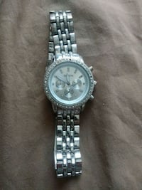 round silver-colored chronograph watch with link bracelet Wichita, 67212