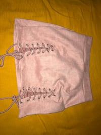 Pink Mini Lace Up Skirt Evans, 30809