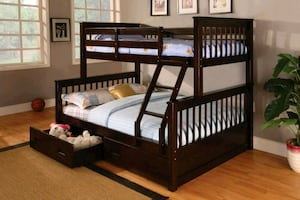 Espresso twin bunk bed divisible to 2 beds ( new) Available w/ drawers