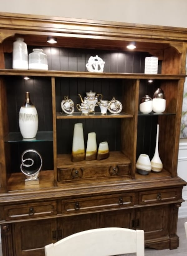 MOVING SALE: DINING ROOM- WALL UNIT 2 piece set 2
