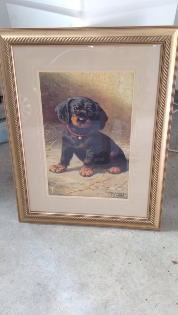 Black and tan Dachshund puppy painting with brown wooden frame d9e90bf9-5942-447d-9579-58ed13701742