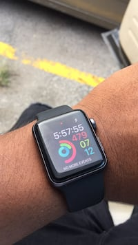 black Apple Watch with black sports band Bay Shore, 11706