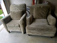 gray fabric sofa chair and ottoman Marshall, 20115