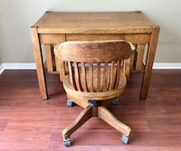 Antique Desk Shaker Style from Wheaton Farm House with Vintage Swivel Chair & Glass Top Gilberts, 60136
