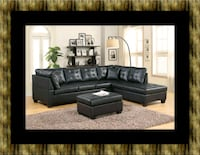 Black sectional with ottoman Laurel