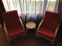 2 red chairs and table for kids Cambridge, N1R 7G1
