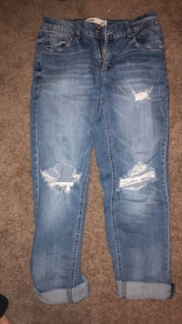 blue denim distressed denim jeans Regina, S4X