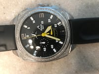 round black chronograph watch with black leather strap Washington, 20019