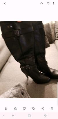pair of black leather boots Calgary, T3M 2C6