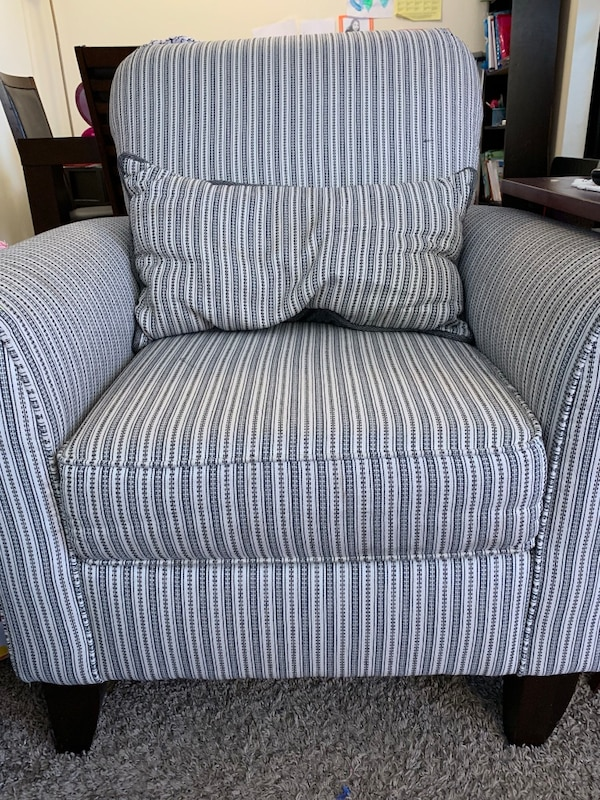 Prime Gray And White Striped Sofa Chair Andrewgaddart Wooden Chair Designs For Living Room Andrewgaddartcom