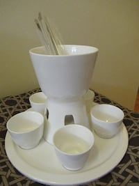 New White Ceramic Fondue Set (Crate  Burlington