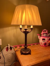 Table lamp brown bronze ivory color shade