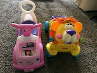 two pink and white ride-on toy and orange Fisher-P 375 mi