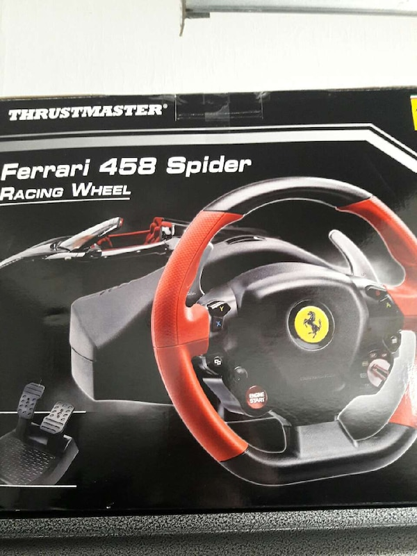 used thrustmaster ferrari 458 spider racing wheel box for sale in