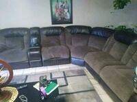 brown leather sectional couch with ottoman Sacramento, 95838