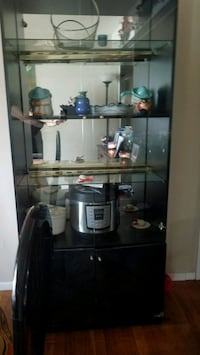 Dining room set for six wit a curio csbinet and break front cabinet
