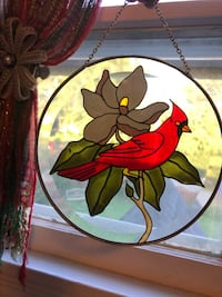 Round Hand Painted Stained Glass Sun Catcher Red Cardinal & Flower Nashville, 37209