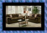 Chocolate fabric sofa and loveseat 53 km