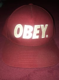 Red and white OBEY cap Modesto, 95355