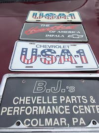 Chevy license plates USA old school