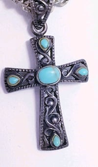 """VINTAGE STERLING SILVER TURQUOISE CROSS NECKLACE """"NICE"""" Queens, 11101"""