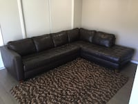 Brown leather sectional sofa with throw pillows Glendale, 91201