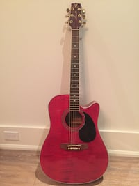 red and black acoustic guitar Vaughan, L4J 2G1