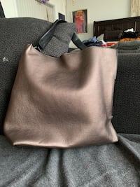 women's gray leather tote bag 3748 km