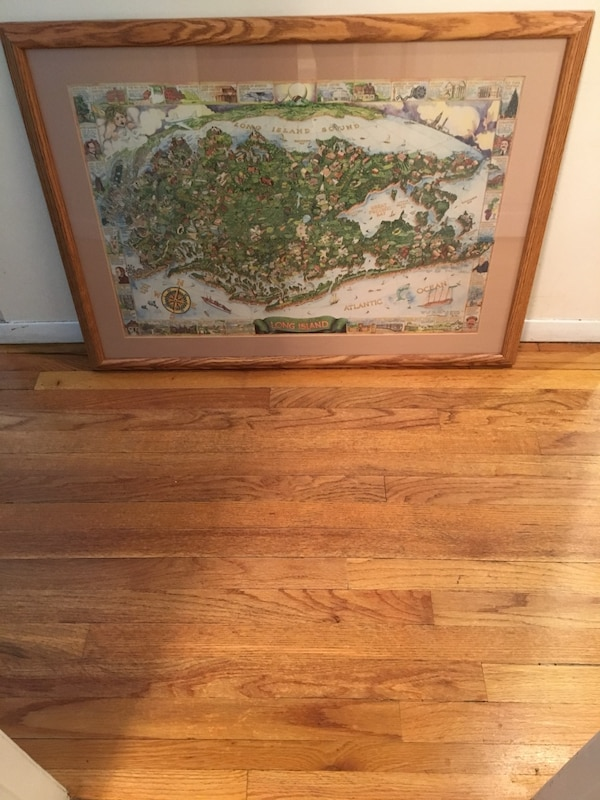 Used Oak Print Of Long Island 26x36 Oak Frame For Sale In