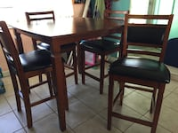Rectangular brown wooden table with four chairs dining set Memphis, 34221