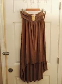women's brown spaghetti strap dress
