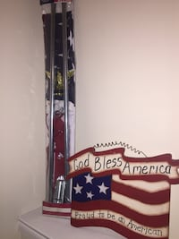 God bless american with u.s.a. flag print board decor Laurel, 20723
