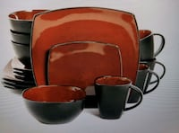 16-Piece Dinnerware Set Red/Black Williamsburg, 23185