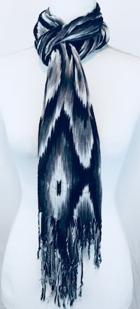 White, gray, and black fringed scarf Milpitas, 95035