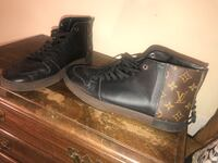 black-and-brown Louis Vuitton Monogram leather lace-up boots