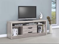 Grey Driftwood Tv Console Brand New In Box (1 Left) Walnut, 91789
