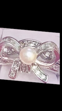 Woman's Delicate WHiTE Water Pearl925 Sterling Silver Engagement Ring