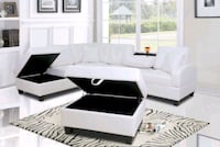 White Leather Storage Sectional and Ottoman Silver Spring