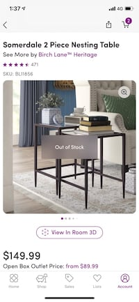 two piece nesting end tables