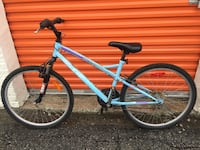 Teal raleigh hardtail mountain bike
