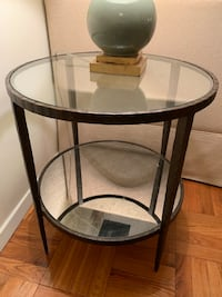 Pair Glass Side Tables- Crate and Barrel