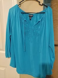 Teal CHAPS women's XL top Richmond, 40475