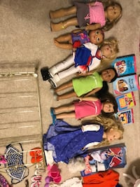 American girl dolls, clothes, bed gone