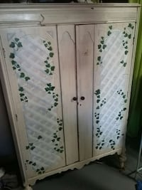 brown and white floral wooden cupboard 200 mi