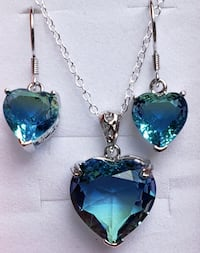 Stunning blue/green cz heart necklace and earrings