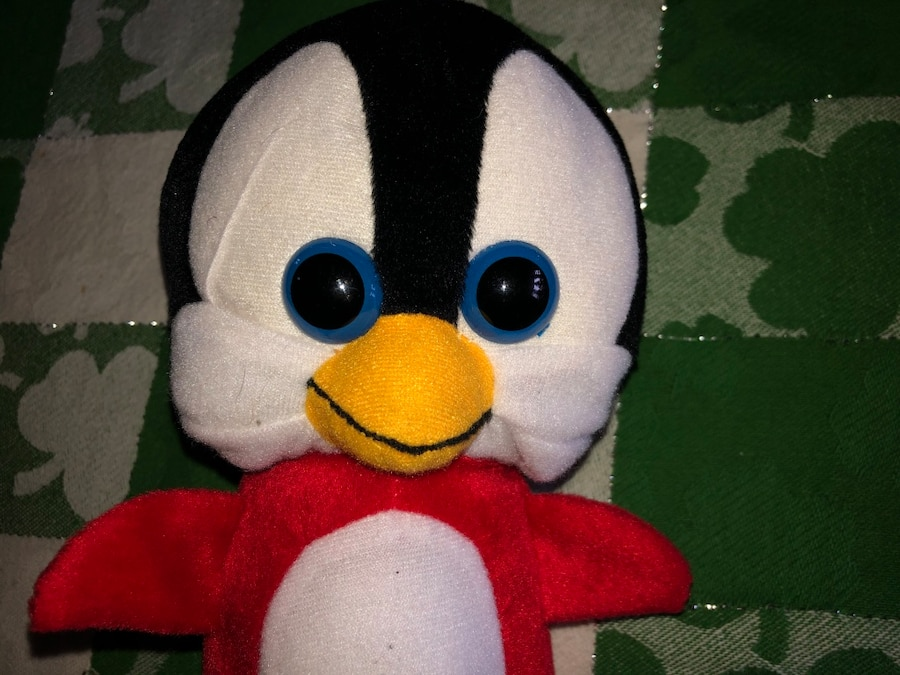 Photo Classic Toy Penguin 9 inch Plush Stuffed Animal Toy Red Black White